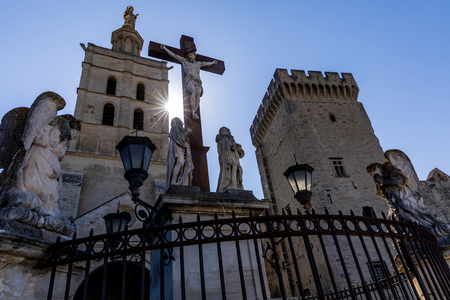 low angle view of Christ Statue at Palais des Papes (papal palace), Avignon, France Stock Photo