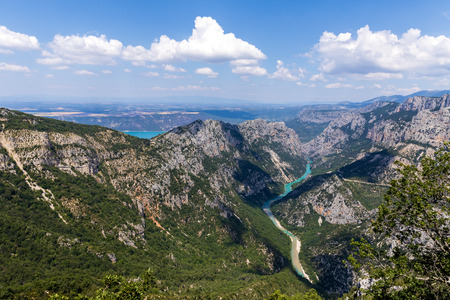 majestic landscape with rocky mountains and canyon of Verdon River, Provence, France