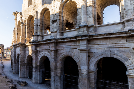 beautiful famous ancient Arles Amphitheatre, provence, france 스톡 콘텐츠