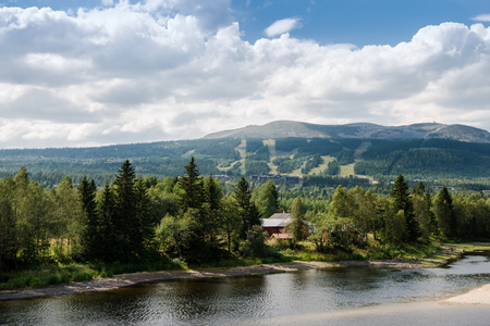 aerial view of river and mountains, Trysil, Norways largest ski resort Stock Photo