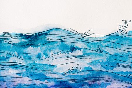 olas de mar hechas por pintura azul de la acuarela en el fondo blanco
