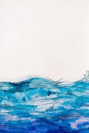 sea waves made by blue watercolor paint on white background Фото со стока - 109024896