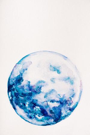 Planet aus blauer Aquarellfarbe auf weißem Hintergrund