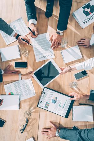 top view of business partners having conversation Stock fotó