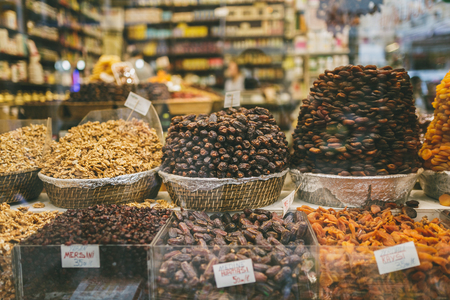 dried fruits at market stall in Istanbul, Turkey