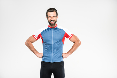 cheerful cyclist in sportswear, isolated on white Stock Photo