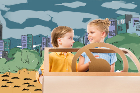 adorable children driving cardboard car in drawn city and park on background Stok Fotoğraf - 109218203