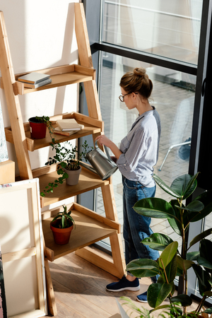 high angle view of stylish woman in eyeglasses watering potted plant