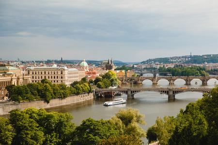 PRAGUE,CZECH REPUBLIC - JUNE 23, 2017: view of bridges on Vltava in Prague, Czech Republic
