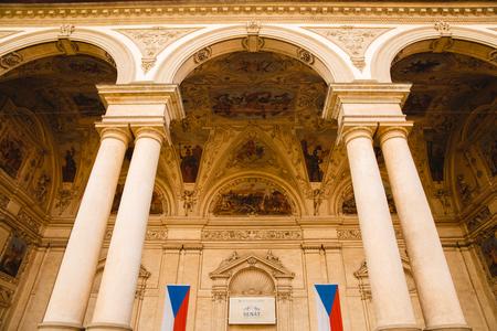 PRAGUE,CZECH REPUBLIC - JUNE 23, 2017: Two flags on Wallenstein Palace in Prague, Czech Republic