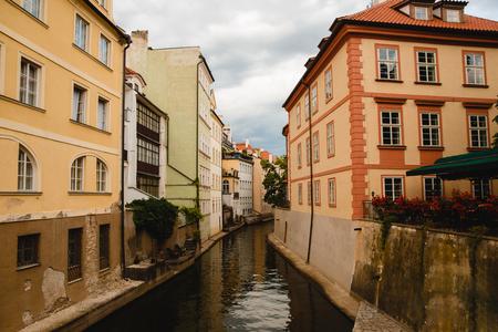 PRAGUE,CZECH REPUBLIC - JUNE 23, 2017: view of channel in old town in Prague, Czech Republic