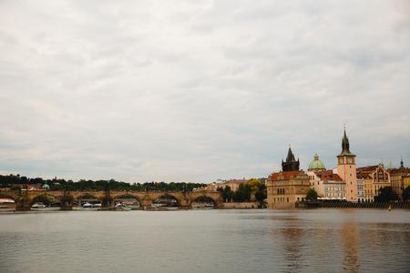 PRAGUE,CZECH REPUBLIC - JUNE 23, 2017: Charles bridge on Vltava river in Prague, Czech Republic Editorial