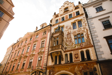 PRAGUE,CZECH REPUBLIC - JUNE 23, 2017: Historical house facade of the Wenzel Storch house in the Old Town Square in Prague, Czech Republic Editorial