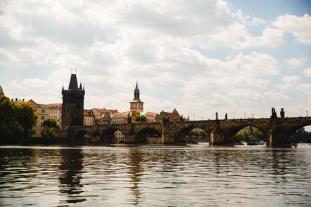 PRAGUE,CZECH REPUBLIC - JUNE 23, 2017: Charles bridge on Vltava in Prague, Czech Republic