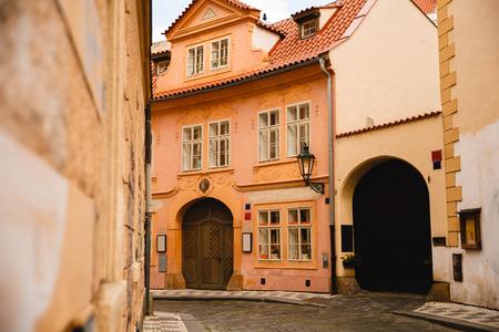 PRAGUE,CZECH REPUBLIC - JUNE 23, 2017:  beautiful buildings in Prague old town, Czech Republic