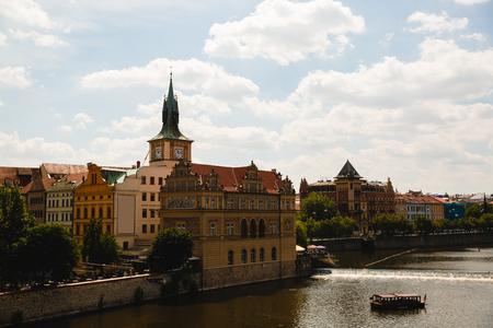 PRAGUE,CZECH REPUBLIC - JUNE 23, 2017: view of Vltava river in Prague, Czech Republic Editorial