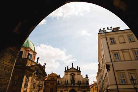 PRAGUE,CZECH REPUBLIC - JUNE 23, 2017: view from the arch on Catholic Church of St. Salvador in Prague, Czech Republic