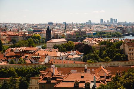 PRAGUE,CZECH REPUBLIC - JUNE 23, 2017: cityscape of old buildings in Prague, Czech Republic