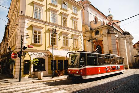 PRAGUE,CZECH REPUBLIC - JUNE 23, 2017: tram on old street in Prague, Czech Republic