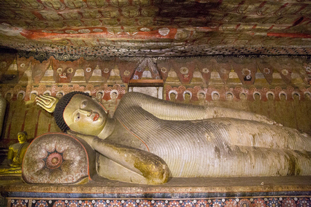 DAMBULLA, SRI LANKA - JAN 17, 2017: close up view of ancient traditional religious monuments in Asia