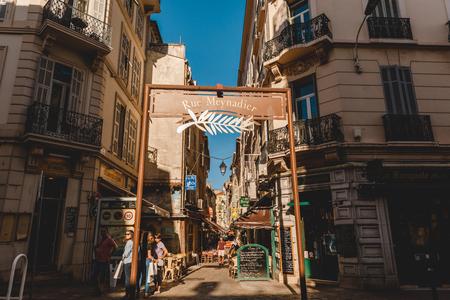 CANNES, FRANCE - 17 SEPTEMBER 2017: rue meynadier market street at cannes Editoriali