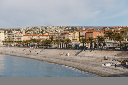 NICE, FRANCE - 17 SEPTEMBER 2017: aerial view of beach at small european town on sea coast Editorial