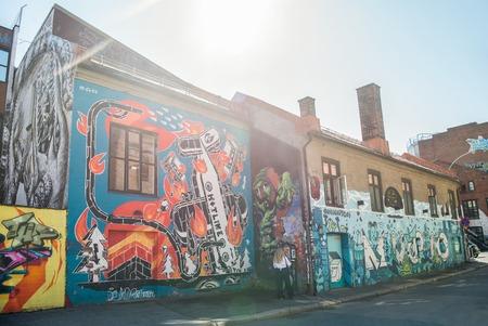 OSLO, NORWAY - 28 JULY, 2018: street art on houses in oslo, norway Editorial
