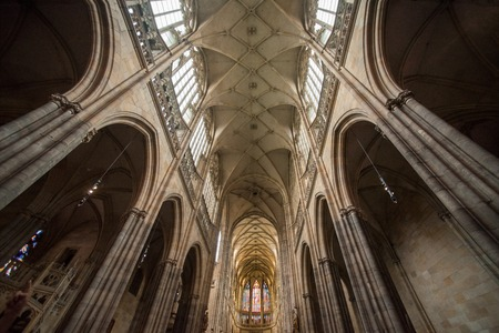 PRAGUE, CZECH REPUBLIC - JULY 23, 2018: low angle view of beautiful famous st vitus cathedral in prague, czech republic