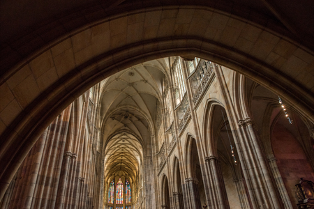 PRAGUE, CZECH REPUBLIC - JULY 23, 2018: low angle view of majestic architecture inside st vitus cathedral in prague, czech republic Editorial