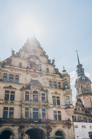 DRESDEN, GERMANY - JULY 24, 2018: low angle view of beautiful ancient architecture in Dresden, Germany Editorial