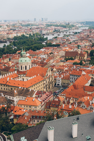 aerial view of prague old town cityscape with rooftops, Charles Bridge and Vltava river Stok Fotoğraf