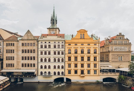 beautiful houses and Vltava river in prague, czech republic Stock Photo