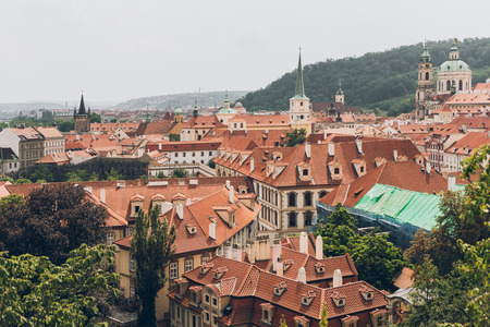 aerial view of famous prague old town cityscape with beautiful architecture
