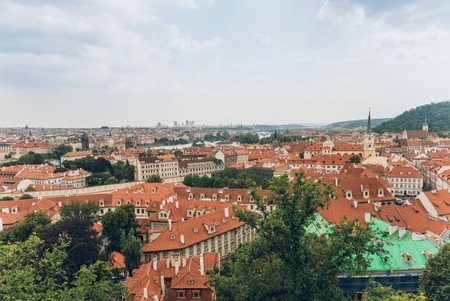aerial view of beautiful prague old town cityscape, prague, czech republic