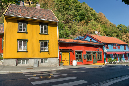 bright colorful houses on street in oslo, norway Stock Photo