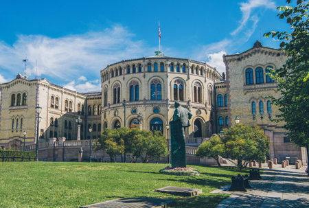 beautiful architecture of norwegian parliament building in oslo Stockfoto - 109478354