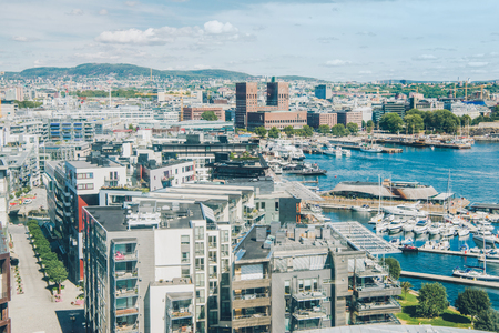 aerial view of beautiful oslo cityscape and harbour, oslo, norway