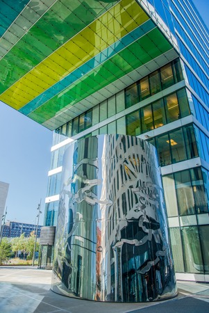 low angle view of modern colorful building in oslo, norway
