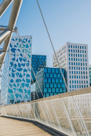 contemporary architecture and modern bridge at Barcode district, Oslo, Norway