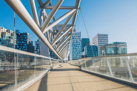 empty bridge and contemporary architecture at Barcode district, Oslo, Norway