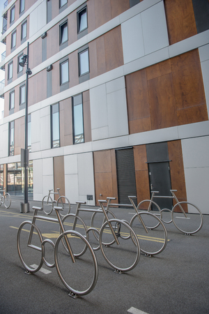 bicycle parking lot and modern building at Barcode district, Oslo, Norway