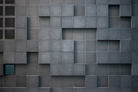 full frame view of modern geometric grey architecture at Barcode district, Oslo Archivio Fotografico - 109478079