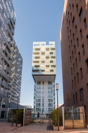 low angle view of contemporary buildings and empty city street at Barcode district, Oslo 스톡 콘텐츠