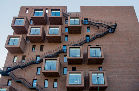 low angle view of modern architecture against sky at Barcode district, Oslo