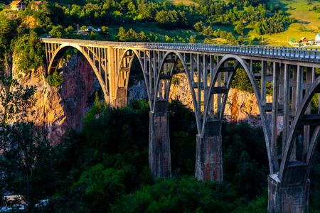 beautiful Tara Bridge during sunset in Montenegro
