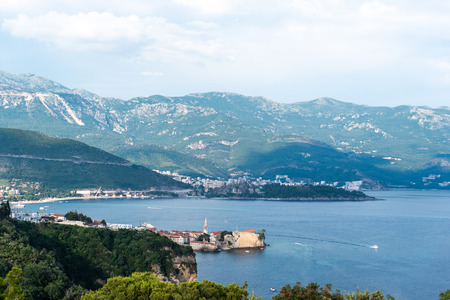 aerial view of beautiful adriatic sea and old town of Budva in Montenegro Stock Photo