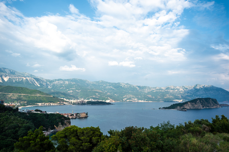 beautiful view of adriatic sea and sveti nikola island (st nicholas island) in Budva, Montenegro
