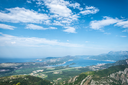 beautiful view on Kotor bay and blue cloudy sky in Montenegro Stock Photo