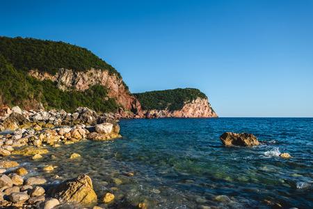 coastline of adriatic sea in Budva, Montenegro Stok Fotoğraf
