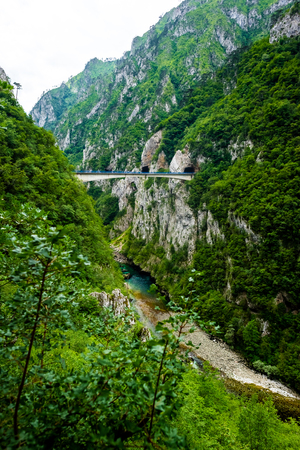 bridge between mountains above Piva River in Piva Canyon in Montenegro